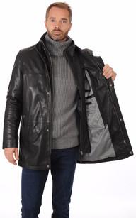 Veste Longue Cuir Chaud pour Homme