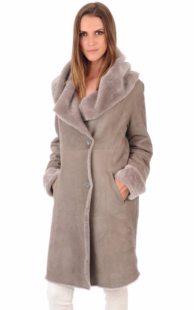 manteau peau lain e gris clair la canadienne la. Black Bedroom Furniture Sets. Home Design Ideas