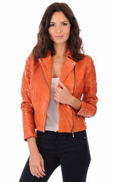 Blouson Cuir Femme Orange