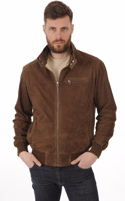 Blouson Cuir Velours Marron Homme La Canadienne