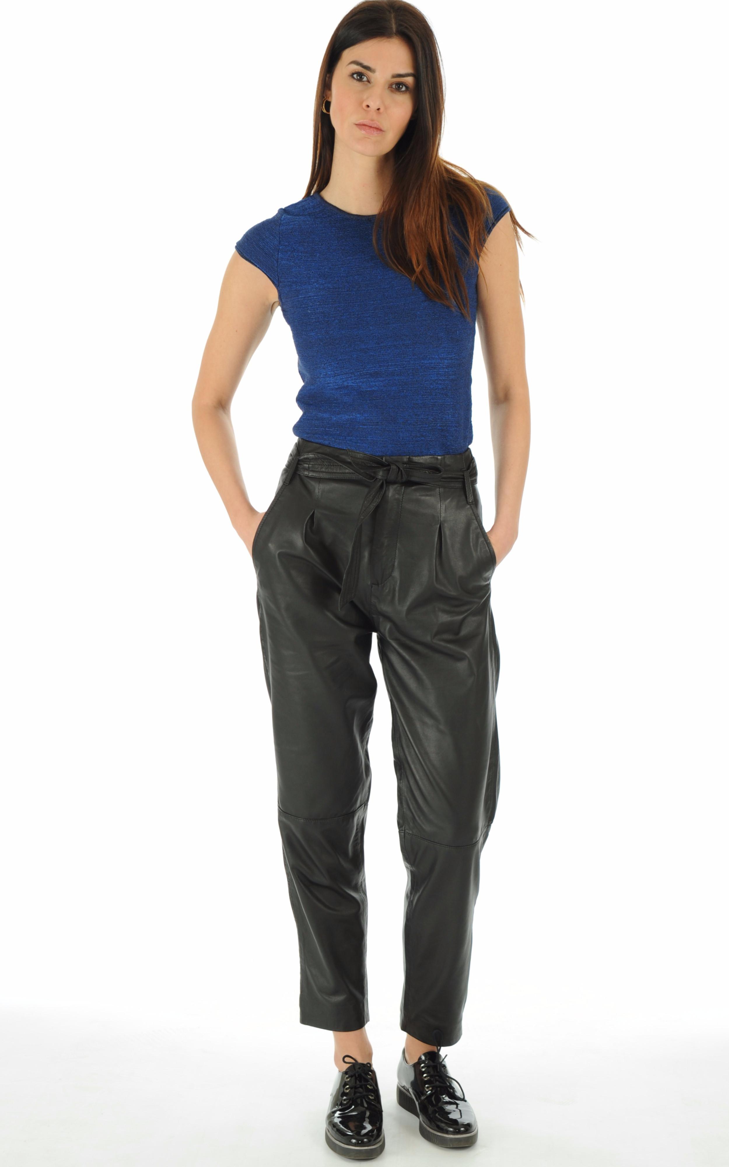 Goosecraft - Pantalon en cuir noir Goosecraft