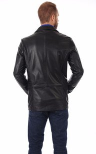 Blazer Long Cuir Noir