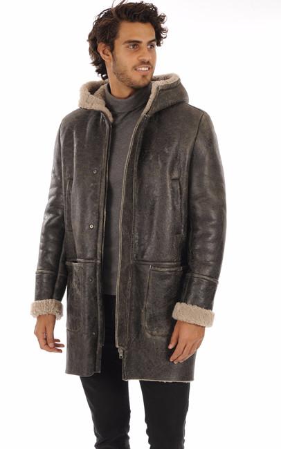 Manteau peau lainée vieillie Salvatore Santoro