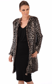 Manteau lapin style léopard
