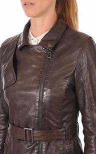 Veste cuir marron esprit