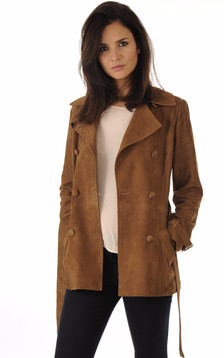 Trench Cuir Velours Tabac