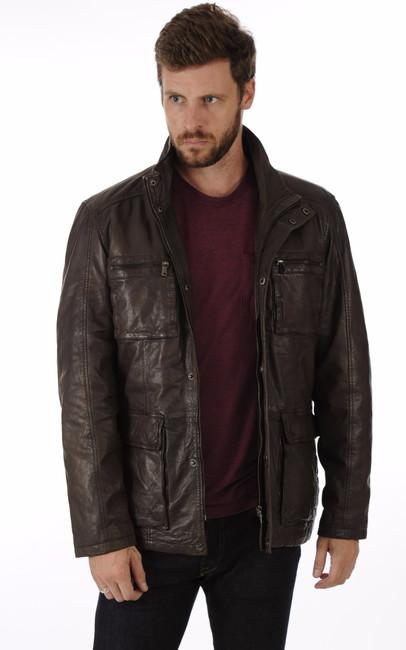 veste cuir homme esprit saharienne la canadienne la canadienne veste 3 4 cuir chocolat. Black Bedroom Furniture Sets. Home Design Ideas