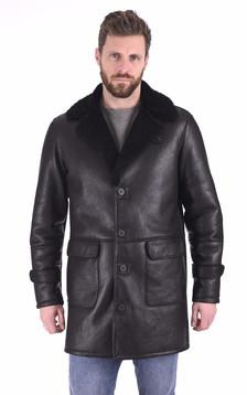 Manteau peau lainée noire