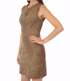 Robe Cuir Velours Taupe La Canadienne
