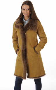 Veste Longue Agneau de Toscane Camel Closed