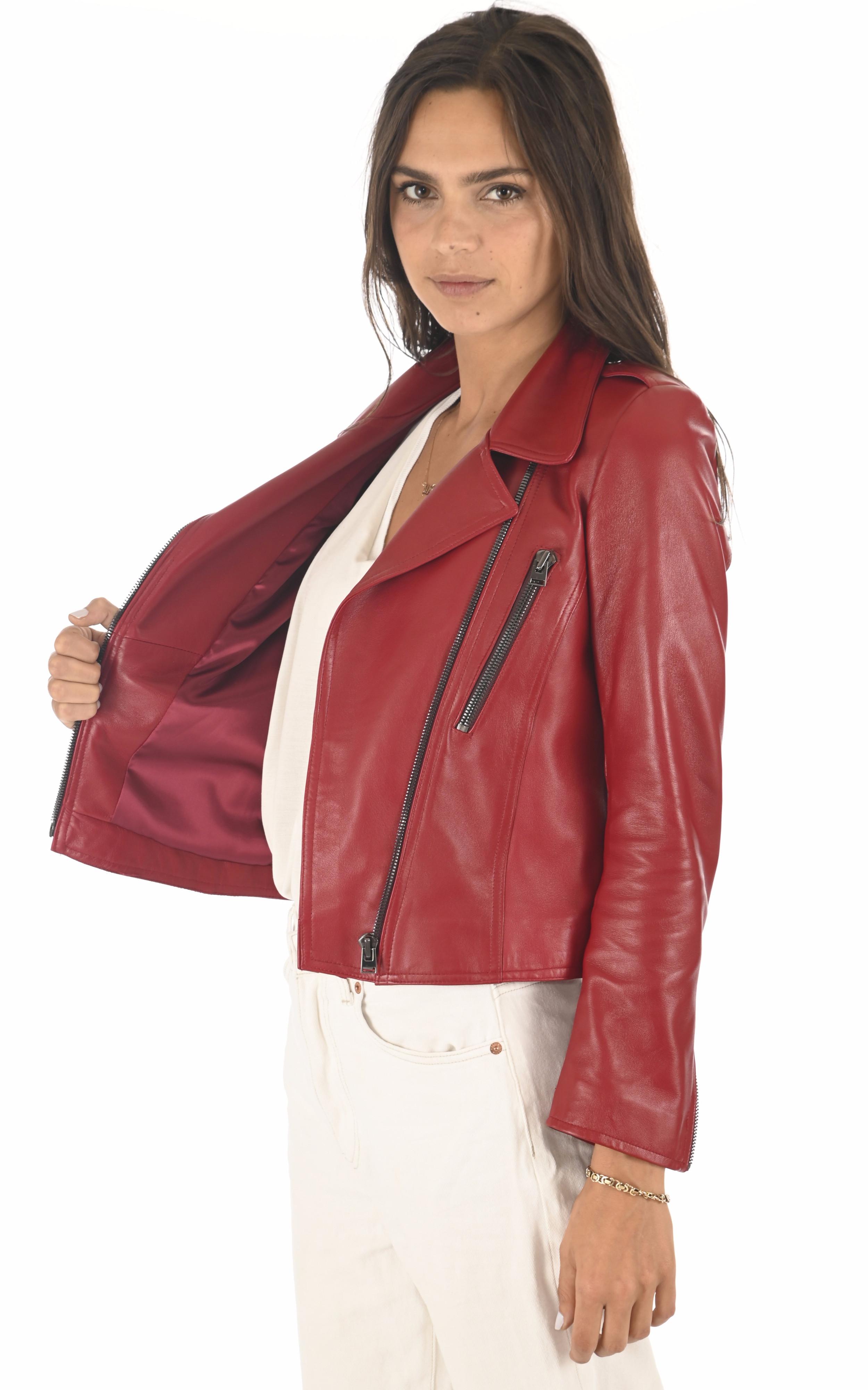 Blouson en cuir rouge femme La Canadienne