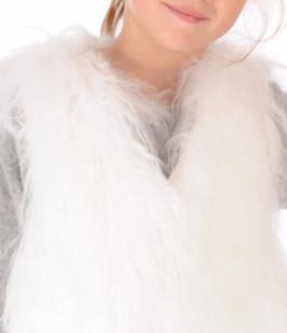 Gilet Agneau du Tibet Blanc Enfant La Canadienne