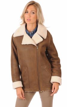 Veste peau lainée mouton marron1