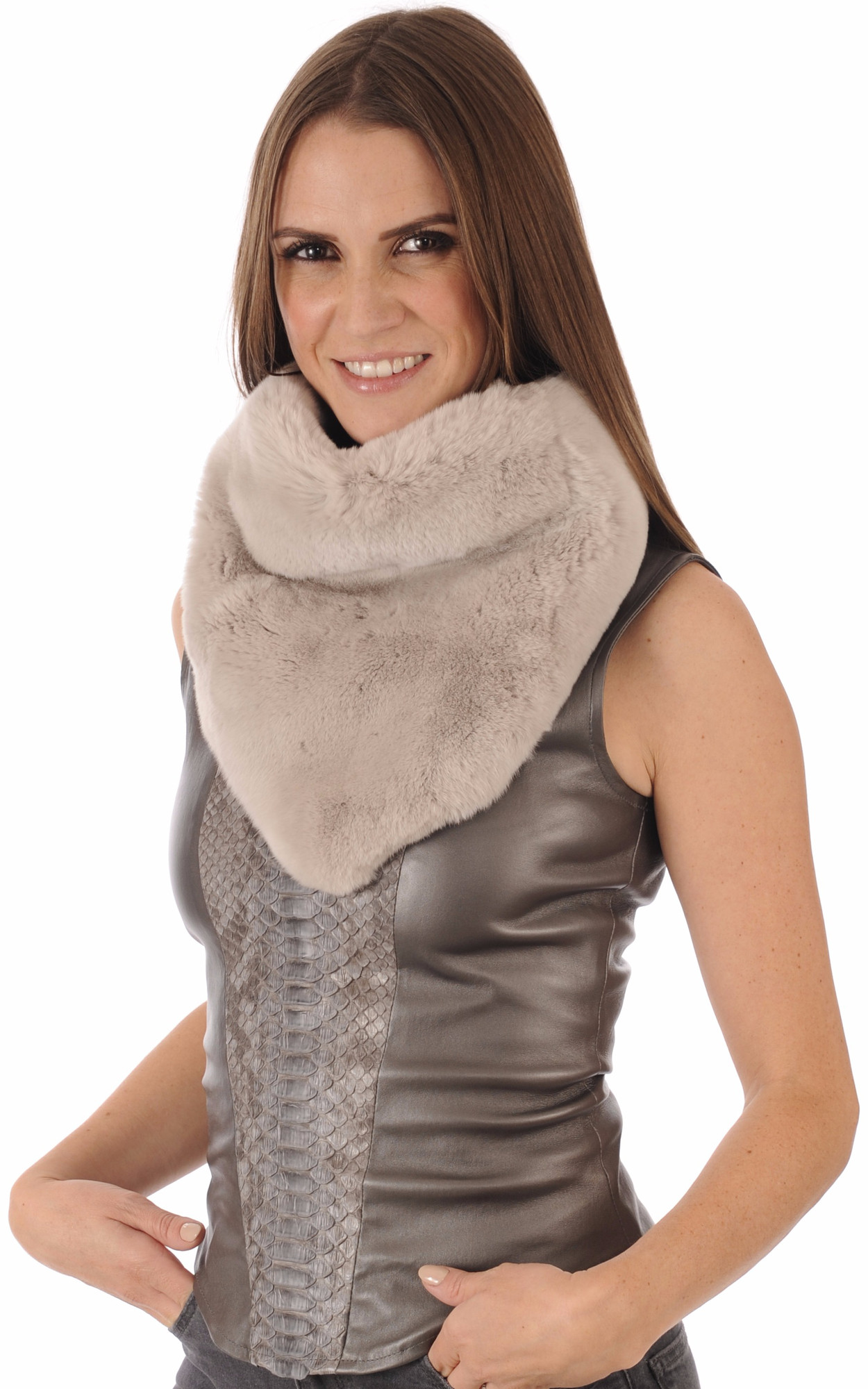 Large Snood Beige Fourrure Rex1