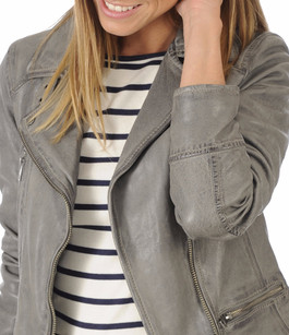 Blouson Cuir Style Perfecto Gris Oakwood