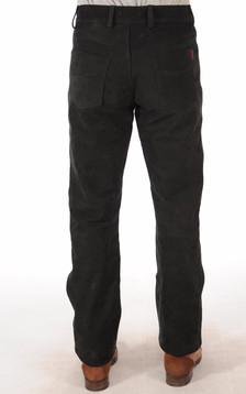 Pantalon Cuir de Buffle Nubuck Noir Homme