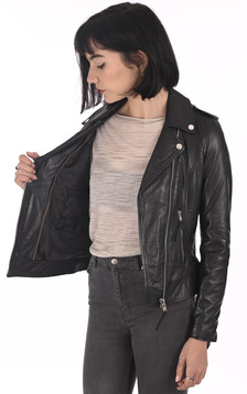 Blouson cuir noir femme