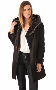 Manteau peau lainee femme marron