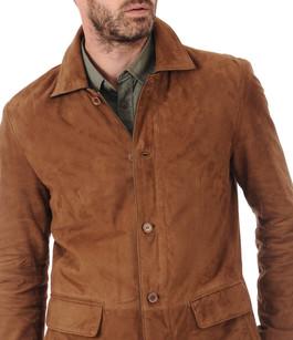 veste aspect daim homme smarty la canadienne veste 3 4 nubuck et daim cognac. Black Bedroom Furniture Sets. Home Design Ideas