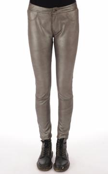 Pantalon agneau stretch gris métal1