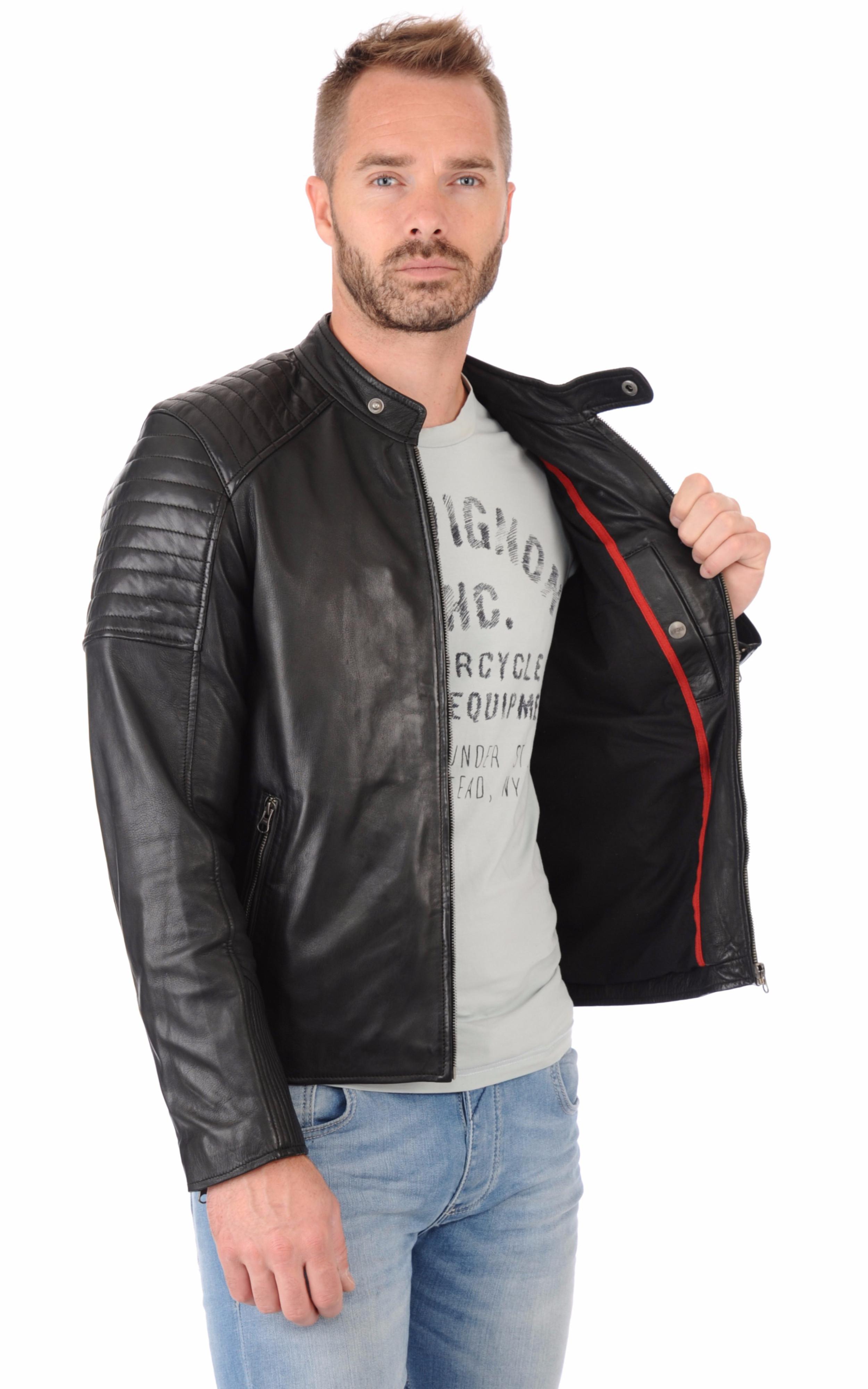 blouson motard cuir homme giorgio la canadienne blouson cuir noir. Black Bedroom Furniture Sets. Home Design Ideas