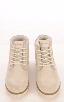 Boots Cuir et  Mouton Blanc Cassé Femme1
