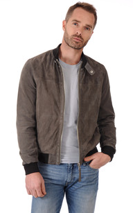 Blouson Cuir Velours Homme Taupe Rino