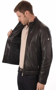 Blouson Cuir Chaud Noir pour Homme