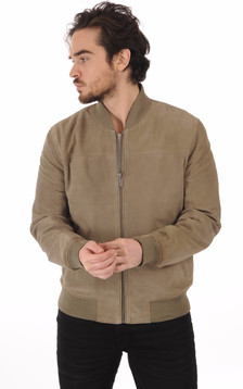 Blouson Teddy Cuirs Velours Olive1