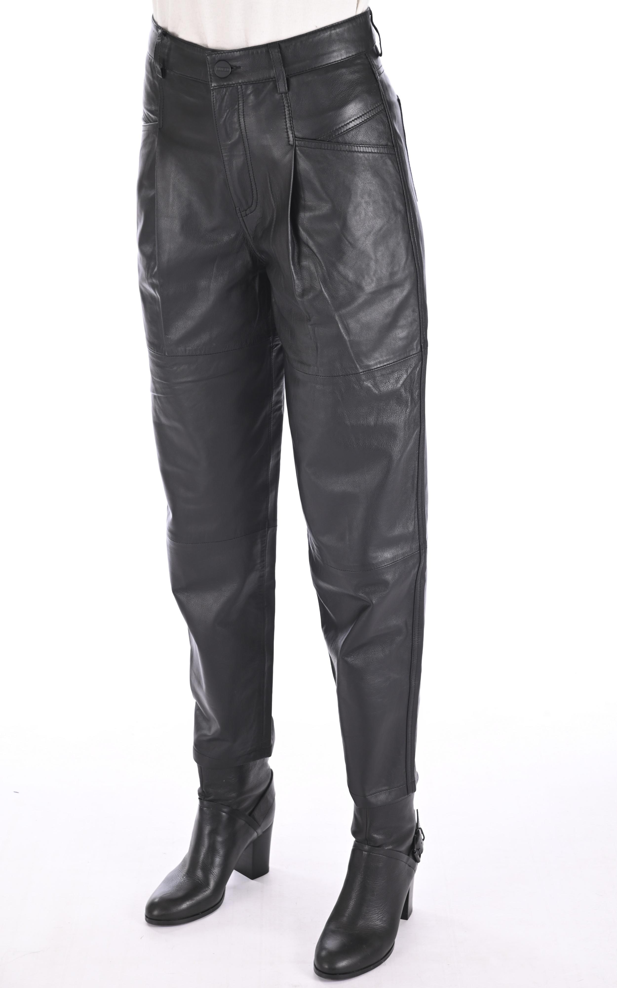 Pantalon chino cuir noir Closed