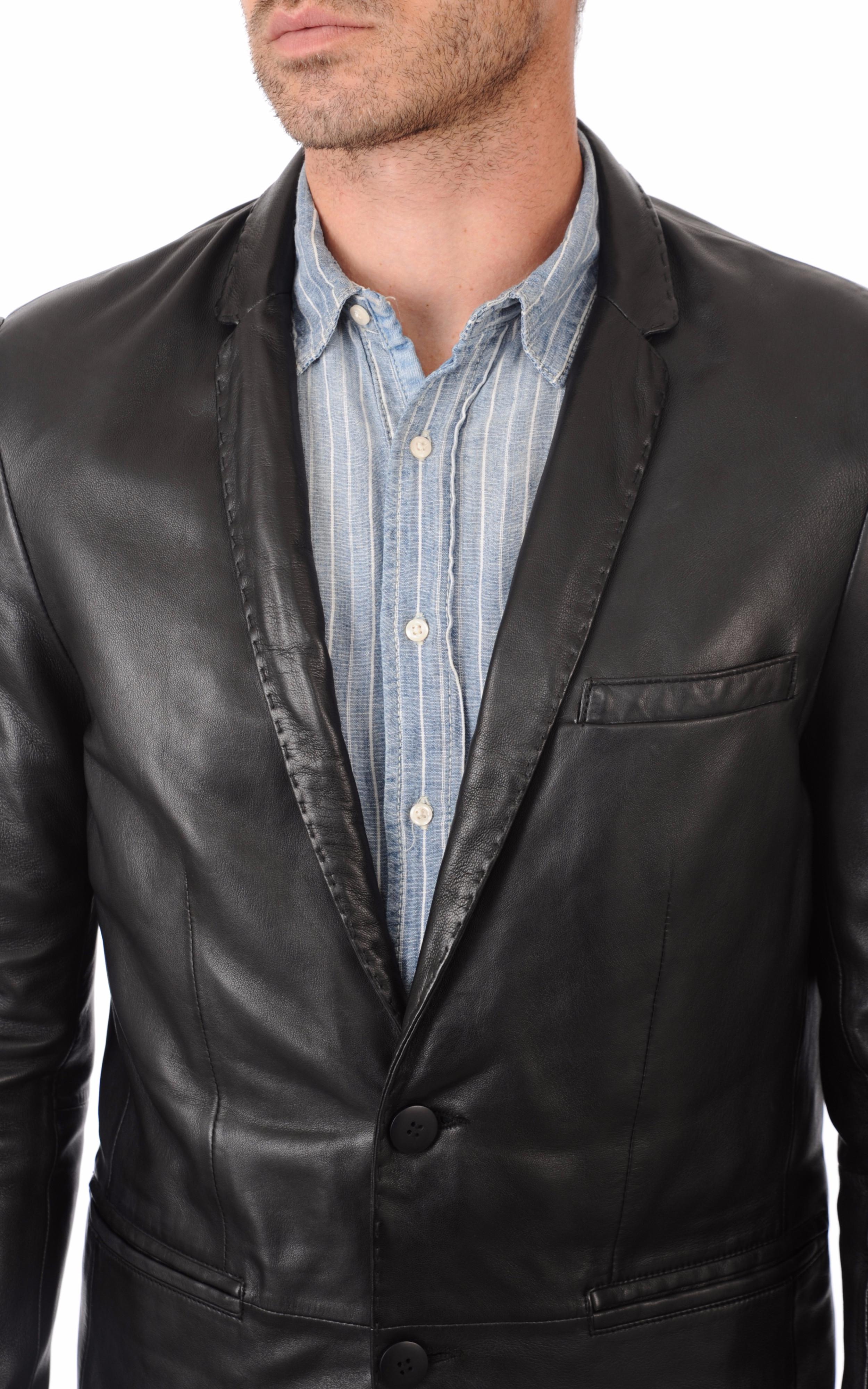 blazer cuir homme serge pariente la canadienne veste 3 4 cuir noir. Black Bedroom Furniture Sets. Home Design Ideas