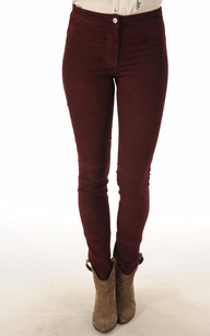 Pantalon Cuir Stretch Bordeaux1