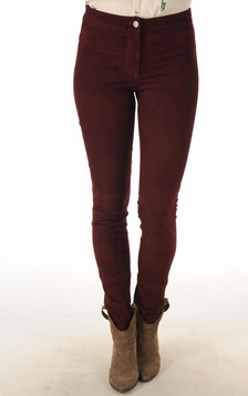 Pantalon cuir velours bordeaux1