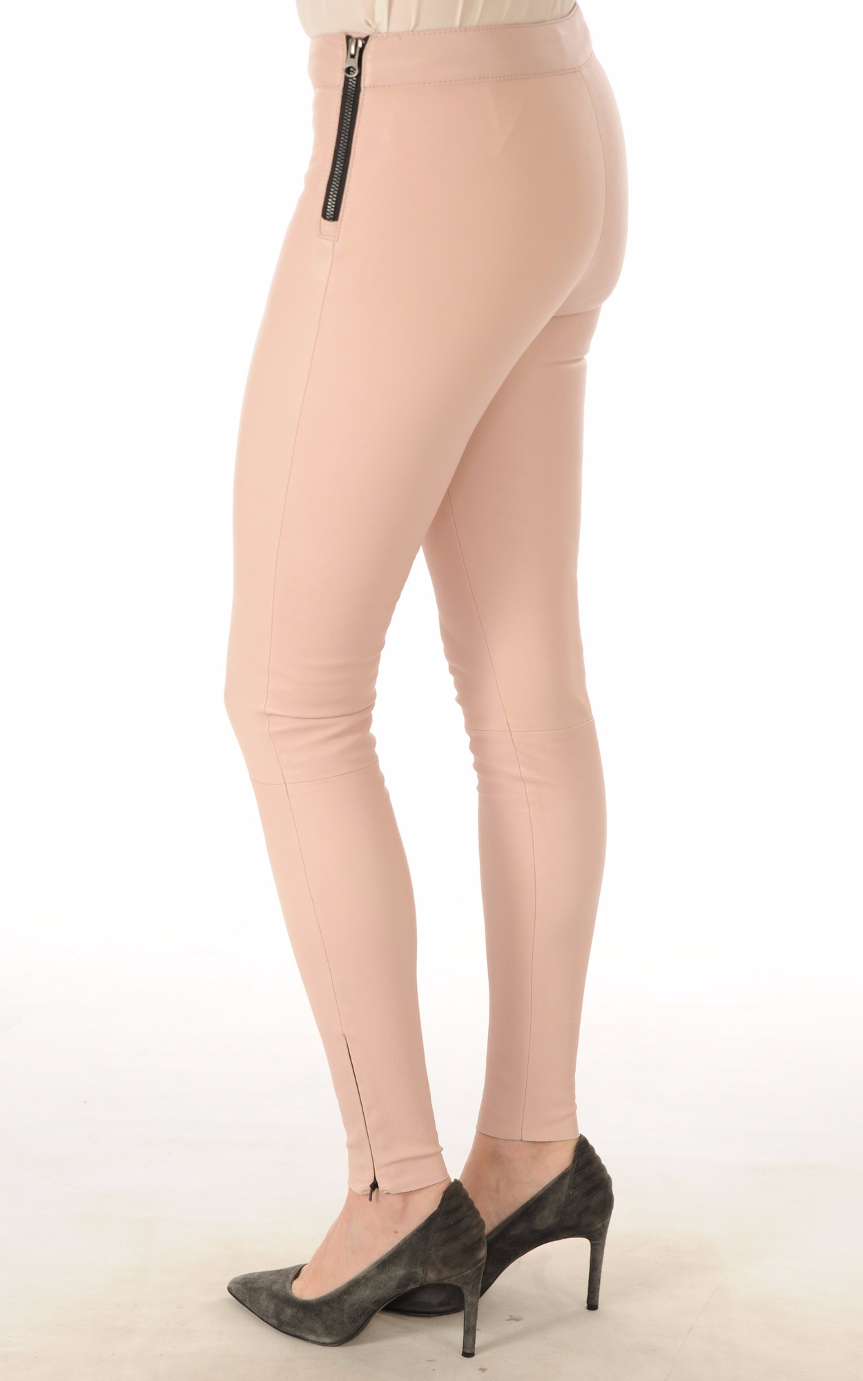 Legging Cuir Stretch Rose Poudré