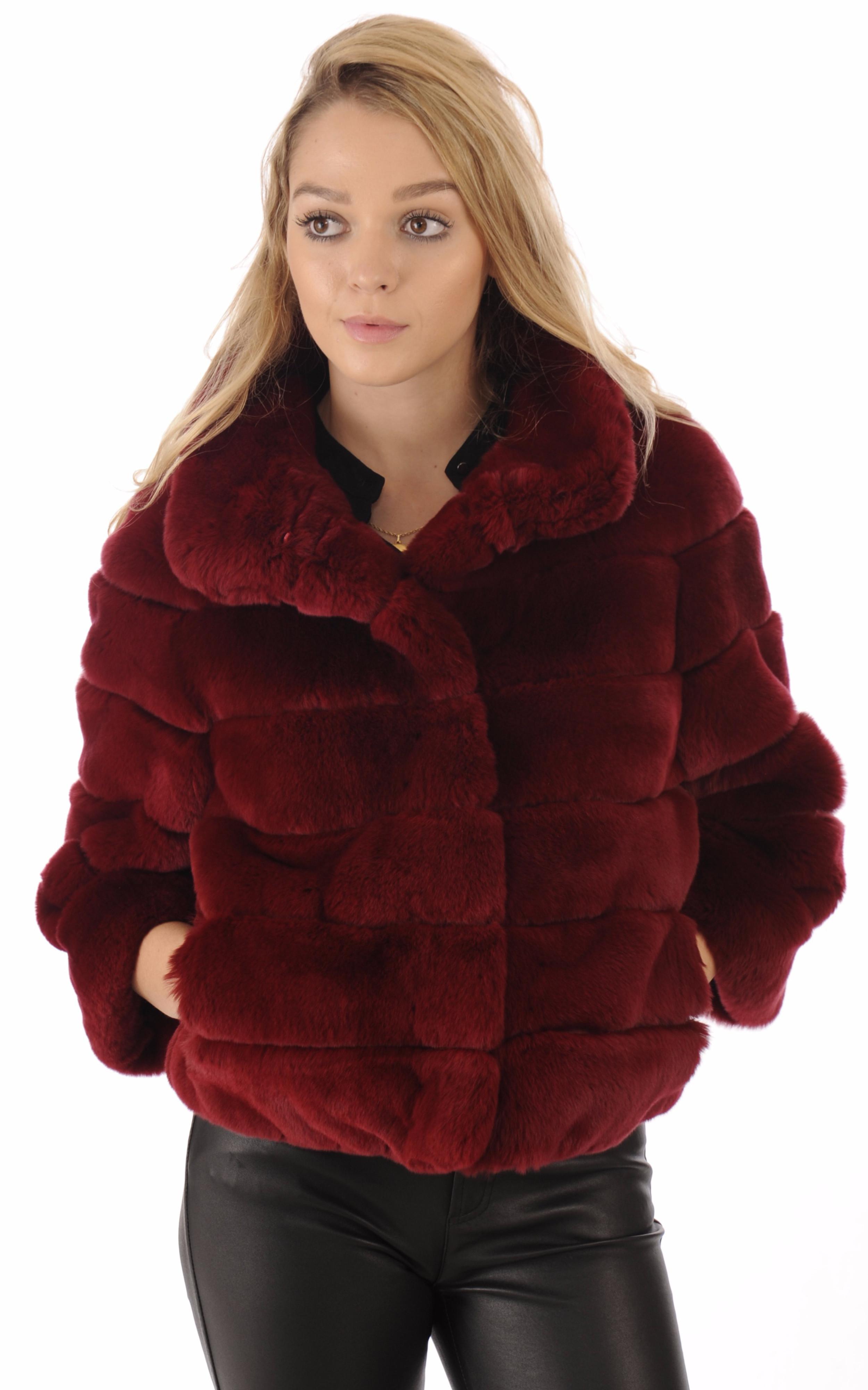 Veste fourrure rex rouge suprema la canadienne veste 3 4 fourrure rouge - Manteau coupe masculine pour femme ...
