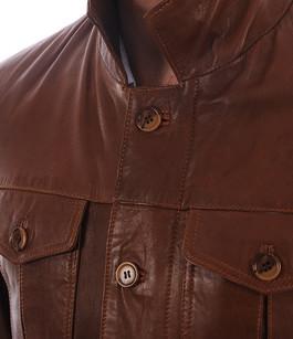 Veste saharienne cuir cognac Smarty