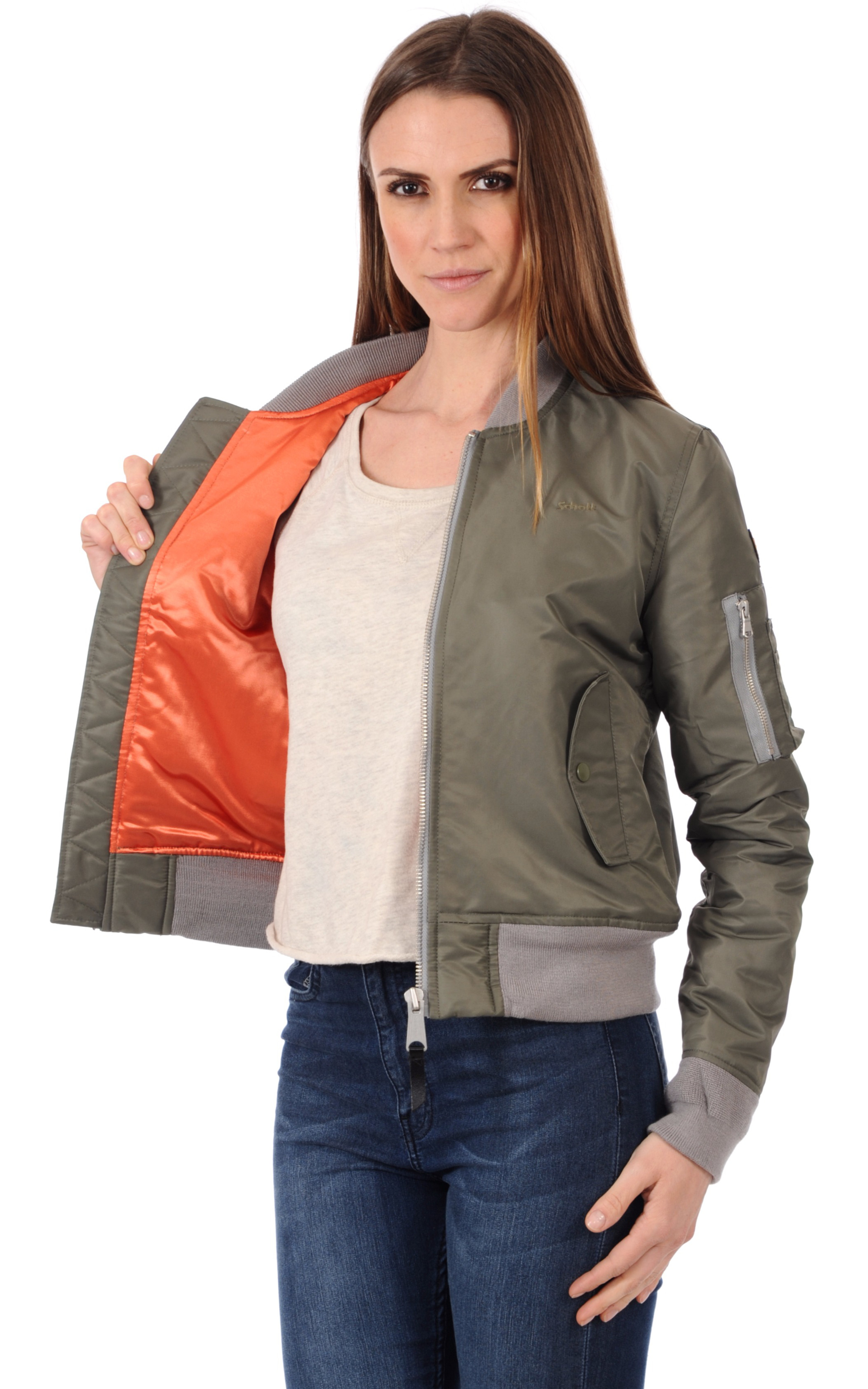 Bomber Femme JKT AC W Kaki Schott - La Canadienne - Blouson Textile Kaki a2a00b8a351