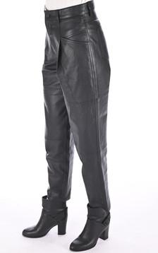 Pantalon chino cuir noir