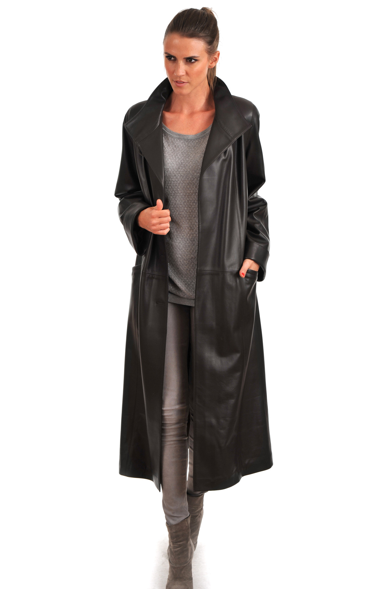 Manteau Cuir pour Femme Marron Foncé