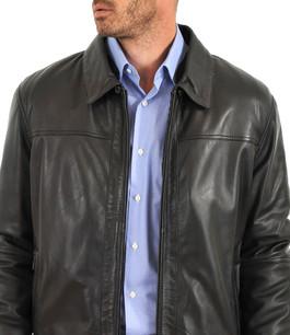 blouson aviateur noir bugatti - la canadienne - blouson cuir noir