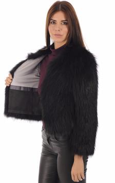 Blouson renard noir femme