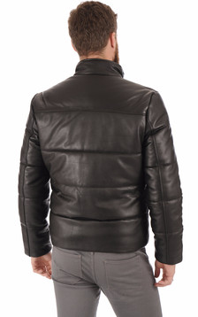 Doudoune cuir Lcnewark noir