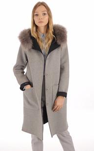 Manteau Réversible gris et bleu nuit