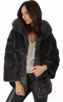 giorgio femme blouson veste en cuir fourrure et daim. Black Bedroom Furniture Sets. Home Design Ideas