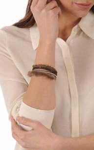 Bracelet Fantaisie Cuir & Vison Marron1