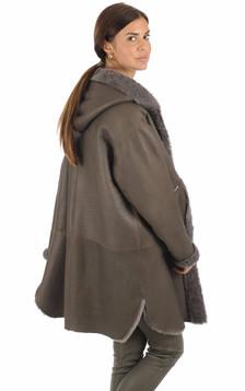 Peau lainée réversible gris foncé