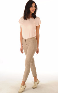 Pantalon Cuir Velours Stretch Beige