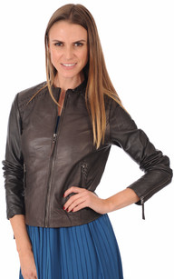 Blouson Spencer Cuir Marron1