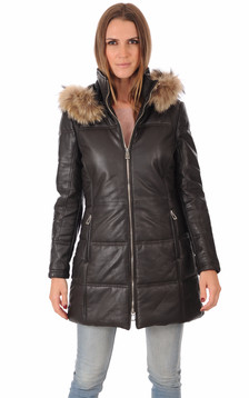 Parka Cuir Marron Bordée Fourrure1