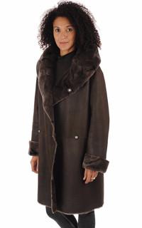 Manteau peau lainée Floride marron foncé
